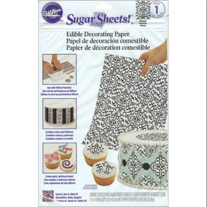 30656 Wilton Sugar Sheet, Black And White Damask