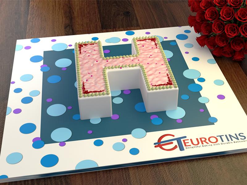 2001963 euro large letter h cake tin