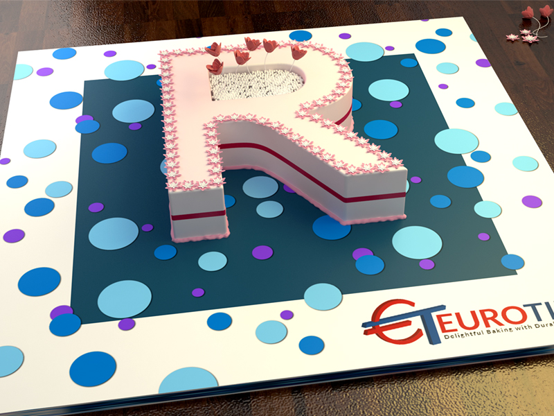 2001973 Euro Large Letter R Birthday Cake Tin