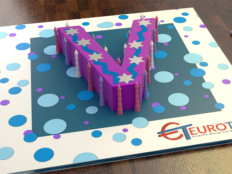 2001977 euro large letter v birthday cake tin