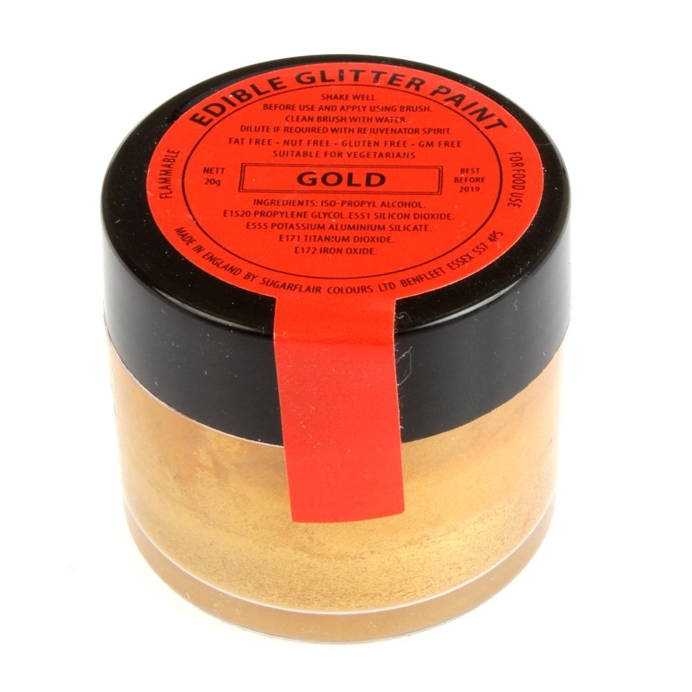 31442 Sugarflair Colours - Gold Edible Glitter Paint 20g