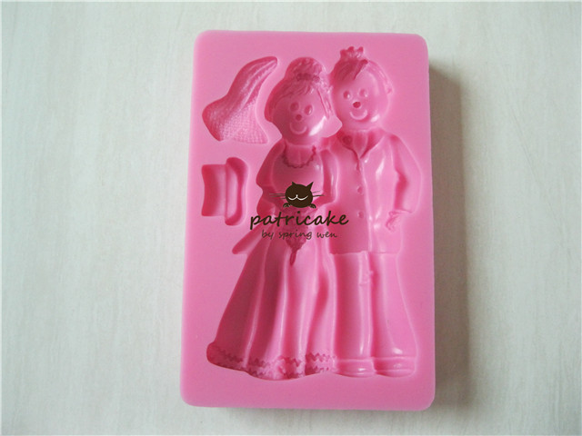 2000224 Fondant Gumpaste Mold Bride & Groom 3D
