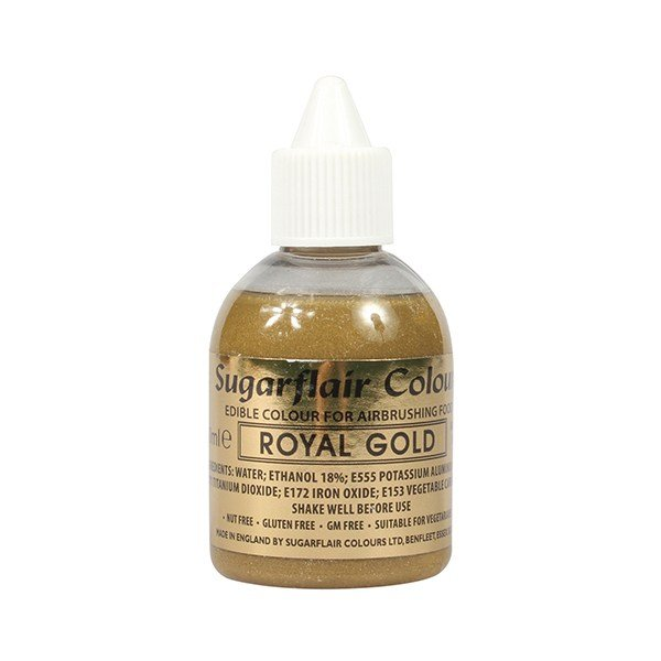 31433 Sugarflair Airbrush Colour - Royal Gold Glitter 60ml