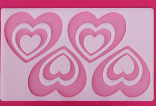 2000158 Chocolate Silicone Stencil Double Heart 4in 1